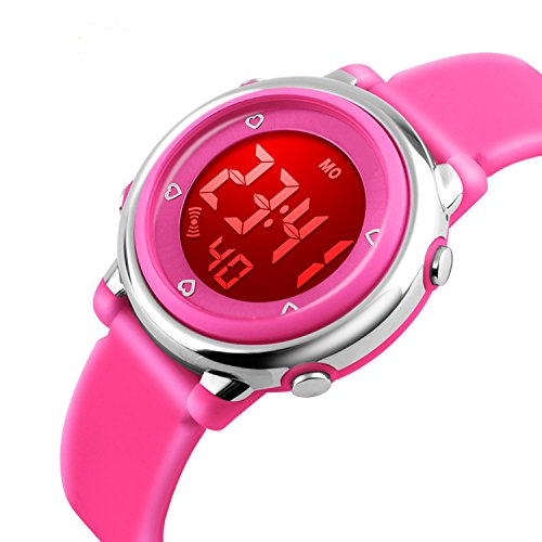Price comparison product image Kids Silicone Outdoor Sport Unusual Digital Electrical Colorful Luminescent Waterproof Children Dress Wrist Watch with Alarm and Stopwatch for Girls - Pink