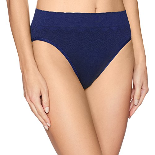 (Vanity Fair Women's No Pinch-No Show Seamless Hi Cut Panty 13171, Ghost Navy Lace, X-Large/8)