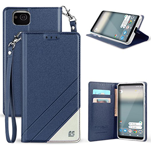 Google Pixel 2 Case, Spots8 Dark Blue White Faux Leather 2 Tone Hybrid Flip Wallet Cover with Phone Strap Built in Kickstand Card Slots and Invisible Magnetic Closure for Google Pixel 2 (2017)