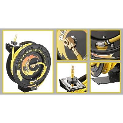 3260 Pentagon Tools 3/8 300PSI Heavy Duty Retractable 100 Foot Air Hose & Reel Professional Grade