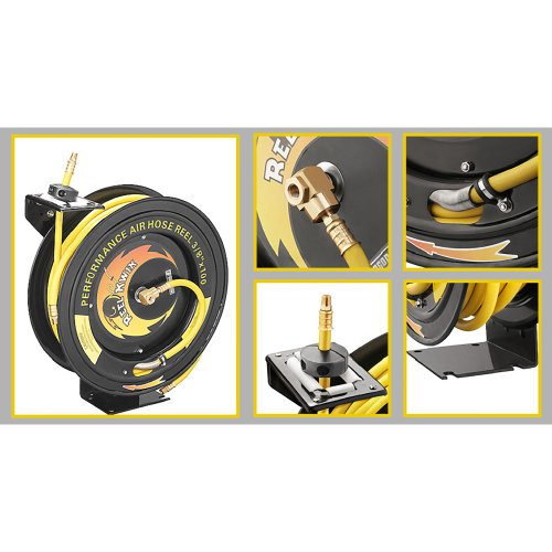 3260 Pentagon Tools 3/8 300PSI Heavy Duty Retractable 100 Foot Air Hose & Reel Professional Grade ()