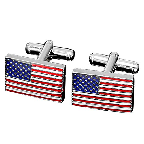 MGStyle Cufflinks For Men - the Old Glory Stars & Stripes American Flag - Silver Tone - Rectangle - Enamel & Stainless Steel with Deluxe Gift Box