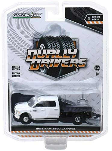 Greenlight 46010-F Dually Drivers Series 1-2018 Ram 3500 Dually Flatbed 1:64 Scale