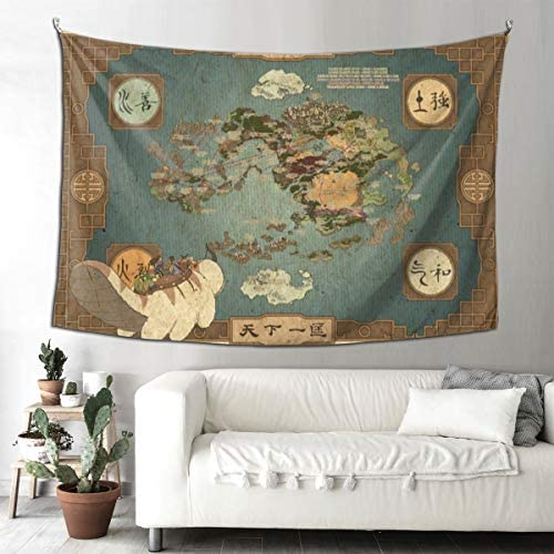 Avatar The Last Airbender Map Tapestry Wall Tapestry Hanging Fabric Backdrop Blanket Home Decor for Living Room Bedroom College Dorm 90×60 Inches