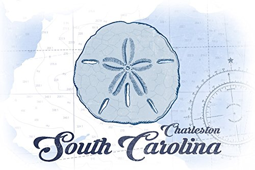 Charleston, South Carolina - Sand Dollar - Blue - Coastal Icon (16x24 SIGNED Print Master Giclee Print w/Certificate of Authenticity - Wall Decor Travel Poster)