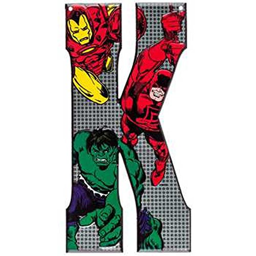 Superhero Marvel & DC Comics Embossed Tin Letter Sign (K (Marvel -