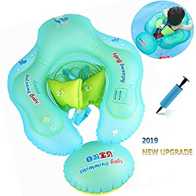 AMAES Inflatable Baby Swimming Float Ring with Safe Bottom Support and Swim Buoy Floats, Newborn Baby Floats Swim Trainer, Swimming Pool Accessories for Newborn Baby Kid Toddler Age 3 Months-6 Years