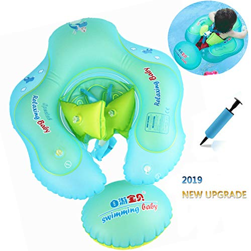 AMAES Inflatable Baby Swimming Float Ring with Safe Bottom Support and Swim Buoy Floats, Newborn Baby Floats Swim Trainer, Swimming Pool Accessories for Newborn Baby Kid Toddler Age 3 Months - 3Years