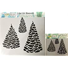 The Crafter's Workshop Set of 2 Stencils - Evergreens 12x12 Large and 6x6 inch Mini - Includes 1 each TCW518 and TCW518s - Bundle 2 Items