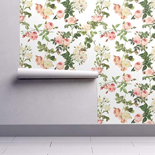 Removable Water-Activated Wallpaper - Pierre-Joseph Redoute Floral Home Decor Redoute Roses Napoleon France Rose by Lilyoake - 24in x 96in Smooth Textured Water-Activated Wallpaper Roll