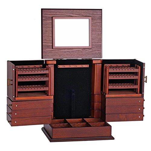ROWLING Schmuckkasten Holz Schmuckkästchen Schmuckkoffer Groß 7 Schubladen dunkelbraun MG018 -