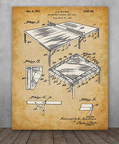 Poster - Ping Pong Table Tennis Patent - Choose Unframed Poster or Canvas - Makes a Great Gift for Game Room ()
