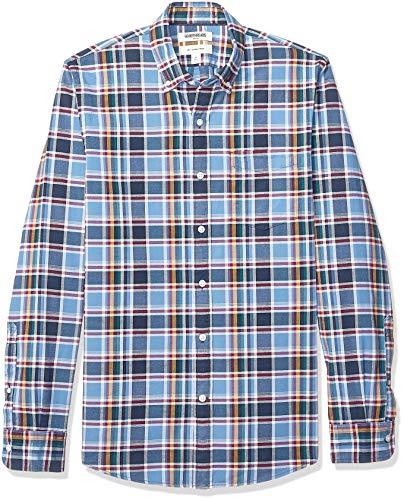 Goodthreads Men's Slim-Fit Long-Sleeve Plaid Oxford Shirt, Navy Denim Plaid, Medium