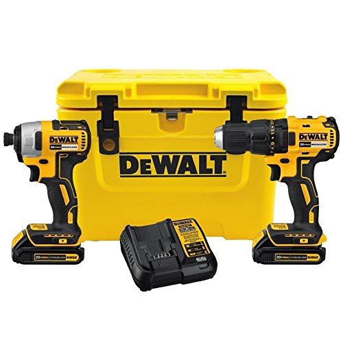 DEWALT 2-Tool 20-Volt Lithium Ion Brushless Cordless Combo Kit with Cooler