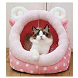 Saymequeen Cute Animal Cake Pet Bed for Small Medium Cat Dog Warm Nest House (cake lamb style)