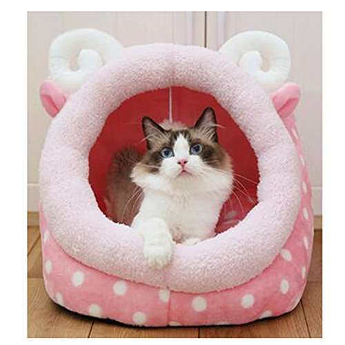 Saymequeen Cute Animal Cake Pet Bed for Small Medium Cat Dog Warm Nest House (cake lamb style) by Pet-Saymequeen