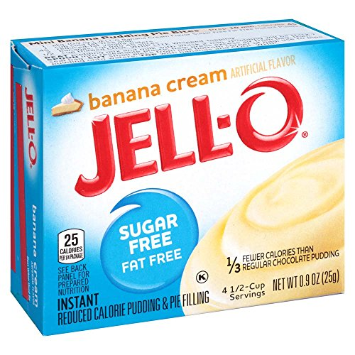 Jell-O Sugar-Free Banana Cream Instant Pudding Mix 0.9 Ounce Box (Pack of 6) (Cream Pie Mix)