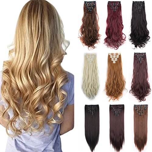 [FIRSTLIKE 23-24 Inch 180g Double Weft 8Pcs 18 Clips Clip In Hair Extensions Thicker Full Head Long Straight Curly 8Pcs 18 Clips Soft] (Easy Sally Costumes)