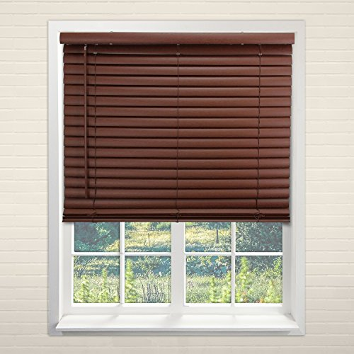 Chicology Cordless 2-Inch Vinyl Mini Blinds / window horizontal blinds mini shades , Vinyl, Variable Light Control - English Chestnut, 48