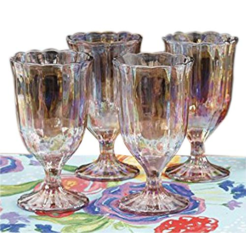 The Pioneer Woman Luster Pink 12.5oz Pearlized Goblet, Set of 4