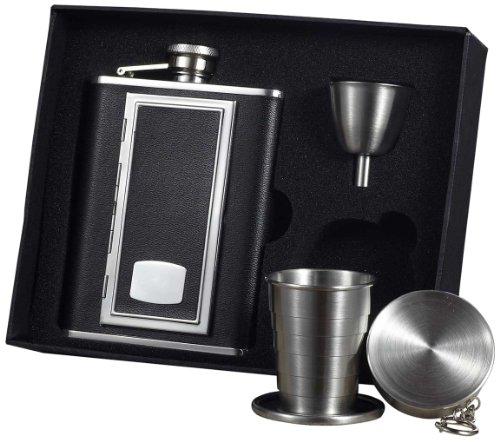 """Visol """"SP Black"""" Leather Stellar Flask Gift Set, 6-Ounce, Black"""