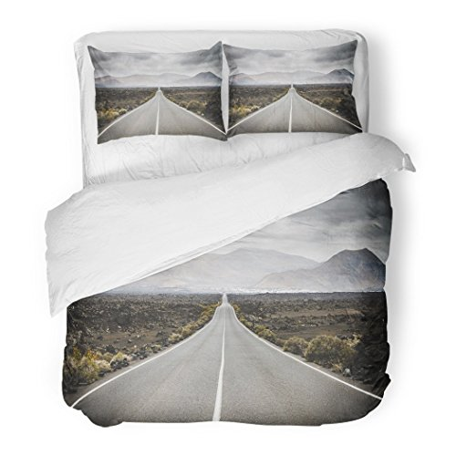 SanChic Duvet Cover Set Endless Road to Timanfaya National Park in Lanzarote Canary Ispands Spain Europe Africa Volcanic Black Decorative Bedding Set with 2 Pillow Shams Full/Queen Size by SanChic