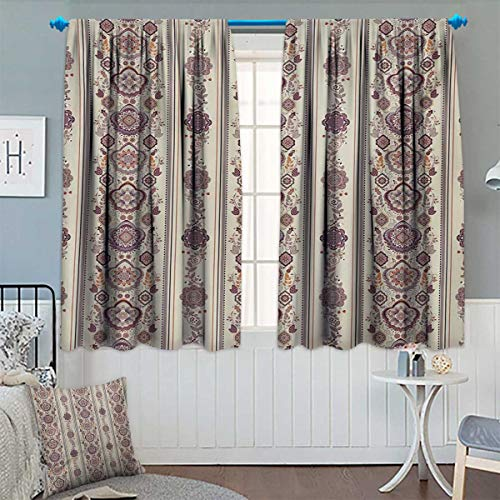 Chaneyhouse Floral Window Curtain Drape Middle Eastern Ottoman Medieval Authentic Ornamental Arabesque Pattern Decorative Curtains for Living Room 63