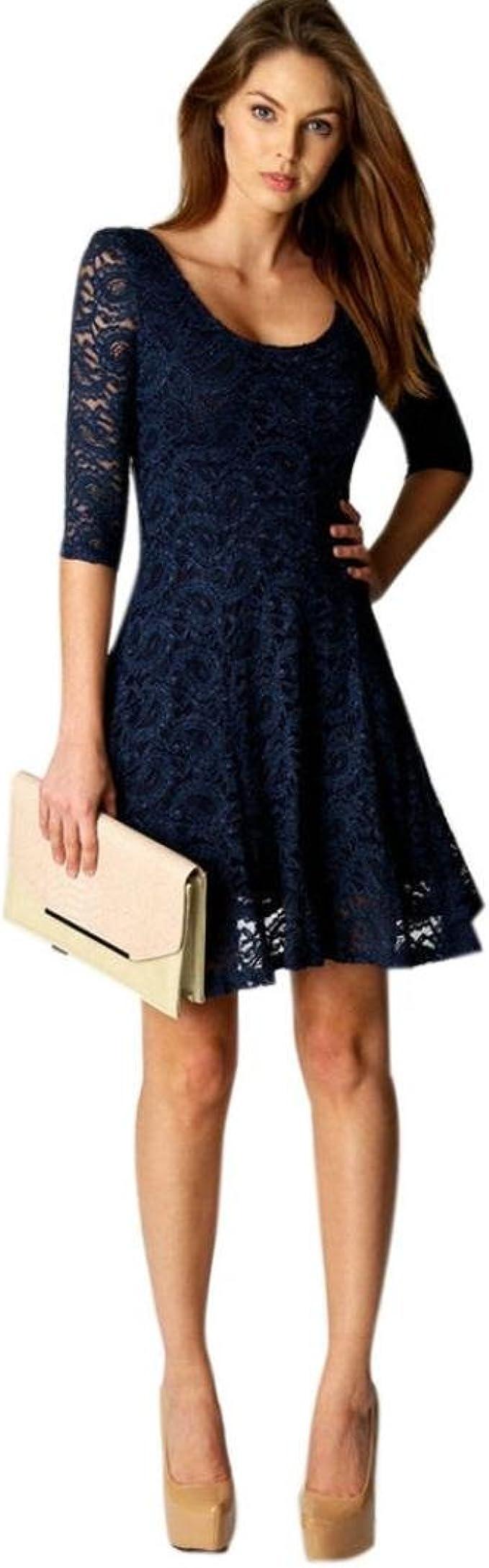 JERFER Kleid Mode Frau Spitze Hälfte Ärmel Party Abend Kurz Mini