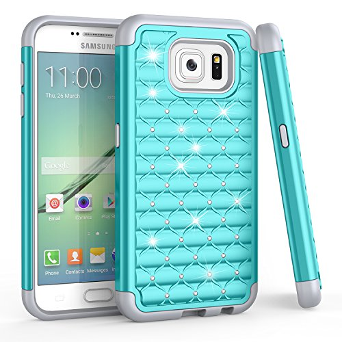 TILL for S6 Case, Galaxy S6 Case, (TM) Studded Rhinestone Crystal Bling Diamond Sparkly Luxury Shock Absorbing Slim Hybrid Defender Rugged Glitter Cute Case Cover for S6 S VI G9200 GS6 [Turquoise]