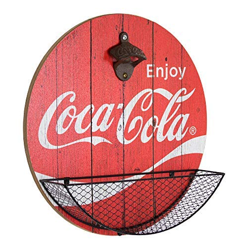 (Officially Licensed Vintage Coca Cola Bottle Opener and Cap Catcher Wall Decor for Bar, Garage or Man Cave)
