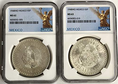 (1948 MX MS-62 1948 MS-63 Mexico Silver Chief Cuahtemoc 5 Peso (Cinco Peso) 2 Coin Set NGC)