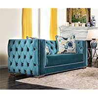 Furniture of America Panth Tufted Velvet Loveseat in Turquoise