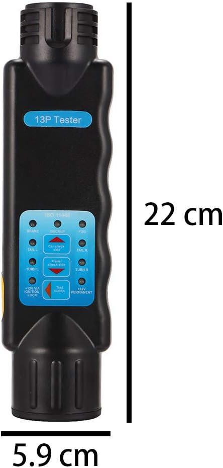 PopHMN Testeur de Prise et de Prise de lumi/ères de remorque /à 13 Broches Outil de Diagnostic de Prise de testeur de Circuit de c/âblage de Barre de remorquage pour v/éhicule de Caravane