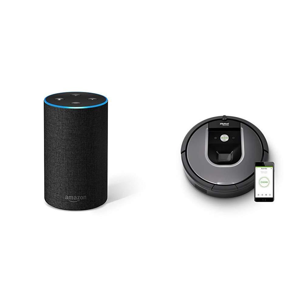 Echo gris antracita + iRobot Roomba 960 - Robot Aspirador Óptimo Mascotas, Succión 5 Veces Superior, Cepillos de Goma Antienredos, Sensores Dirt Detect, ...