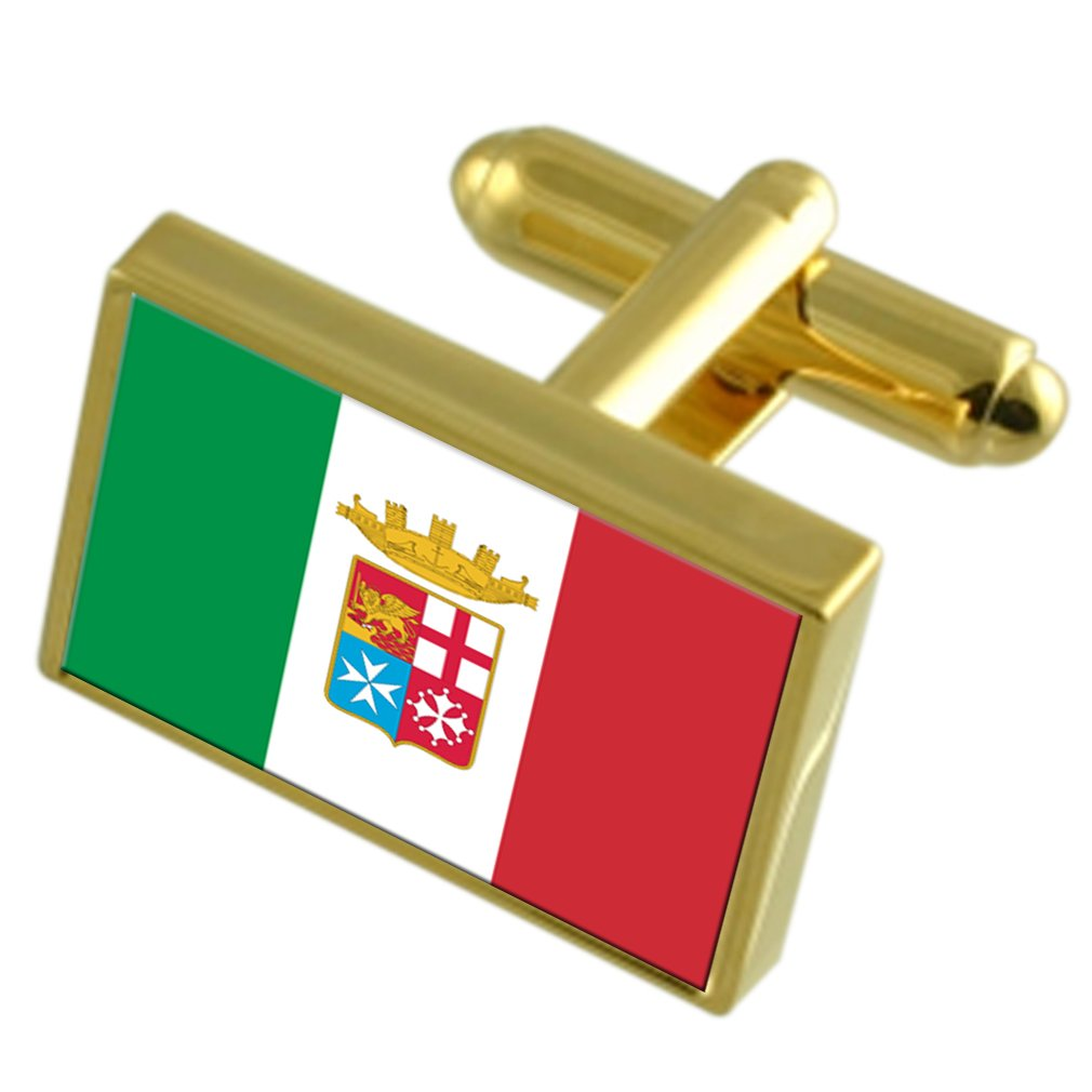 Navy Ensign Militairy Italy Gold-tone Flag Cufflinks
