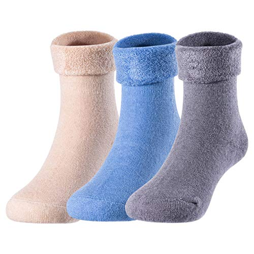 - Lovely Annie 3 Pairs Pack Children Wool Socks Plain Color 12M-24M (Blue, Gray, Beige)
