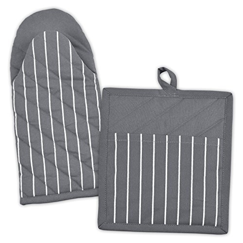 DII 100% Cotton, Machine Washable, Everyday Kitchen Basic, Stripe Commercial Grade, Restaurant Quality Chef Oven Mitt and Pot Holder Gift Set, Gray ()