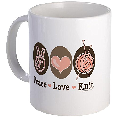 CafePress Peace Love Knit Knitting Mug Unique Coffee Mug, Coffee Cup ()
