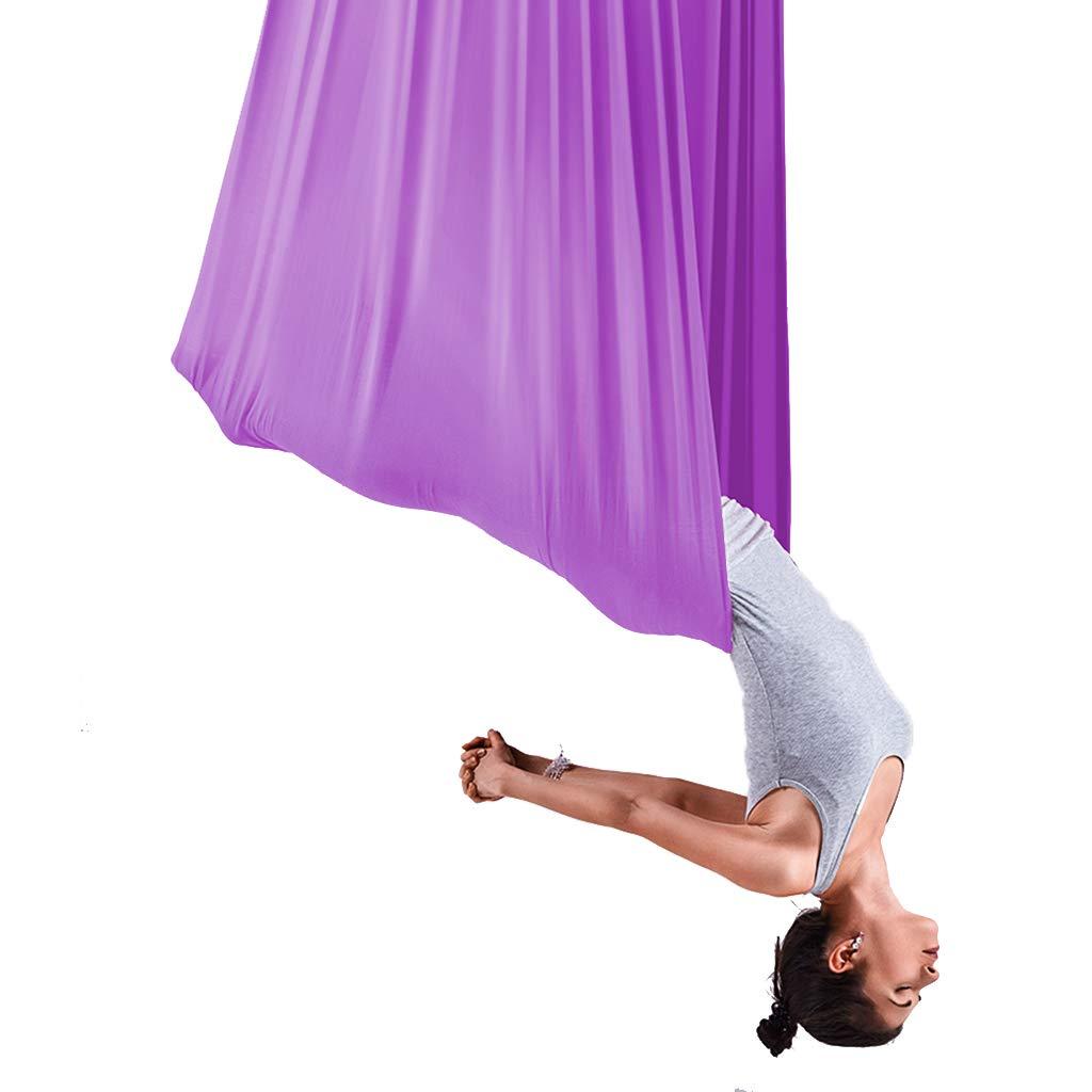 Yoga Aerial Aerial Hängematte Purpurroter Luftgürtel Innenluftfliegen Umkehrpraxis Anti-Schwerkraft Aerial Yogakan Aerial Schaukel Air Fitnessgeräte, Hängematte Länge 5m, Brei