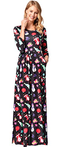 Christmas Women Party Maxi Xmas Gifts Santa Claus Flared Cosplay Longsleeve Printed Dress Snowman & Santa XL (Online Gifts Xmas)