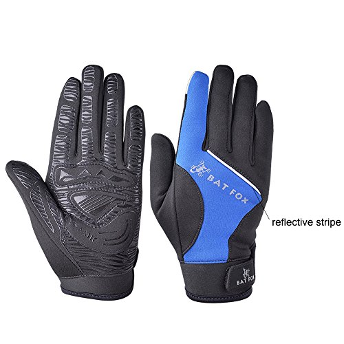 Vbiger Men's Outdoor Warm Touch Screen Cycling Hiking Gloves (Blue, M)