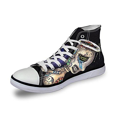 Per Te Disegni Alla Moda Con Stampa Teschio Alta Alta Allacciatura Leggera Sneakers Di Tela Casual Leggera Per Donne E Uomini Che Piangono