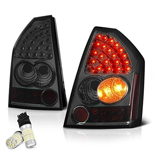 [For 2005-2007 Chrysler 300C] VIPMOTOZ Premium LED Tail Light Lamp - Full SMD LED Backup Bulbs, Chrome Housing, Smoke Lens, Driver & Passenger Side ()