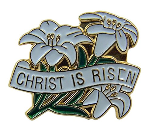 Gold Tone and White Enamel Easter Lily Christ is Risen Religious Lapel Pin, 3/4 Inch (Easter Jesus)