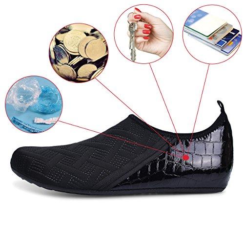 JIASUQI Mens and Womens Summer Barefoot Water Skin Shoes for Surf Pool Zip Black US 5.5-6.5 Women, 5-5.5 Men by JIASUQI (Image #6)