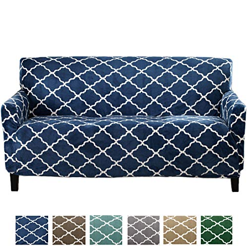 Great Bay Home Modern Velvet Plush Strapless Slipcover. Form Fit Stretch, Stylish Furniture Shield/Protector. Magnolia Collection Strapless Slipcover Brand. (Sofa, Navy)