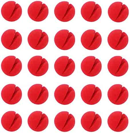 Ogrmar Red Circus Clown Nose Christmas Costume Party Cosplay Red Nose Day 25 pcs