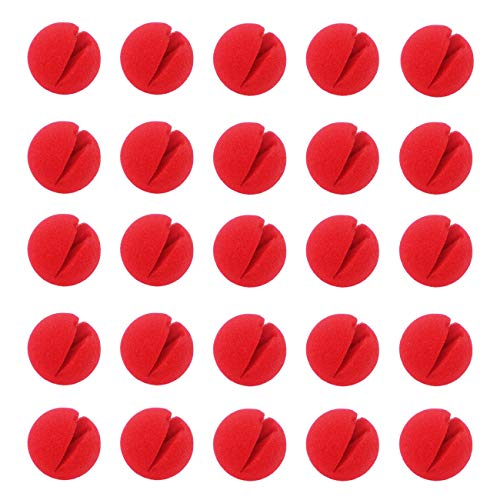 Ogrmar Red Circus Clown Nose Christmas Costume Party Cosplay Red Nose Day 25 pcs ()