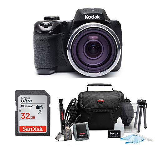 Kodak Pixpro AZ527 20MP, 52x Zoom, Wi-Fi Digital Camera (Black) Bundle Includes 32GB Sandisk SD Card, Carry Bag, and Accessories