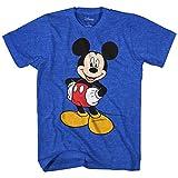 Disney Mickey Mouse Men's Mickey Wash Short Sleeve T-Shirt, Royal Blue Heather, Medium